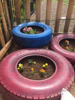 Three tires that have plants in them