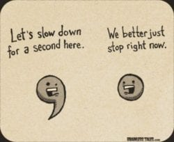 A comma and a period both in a cartoon