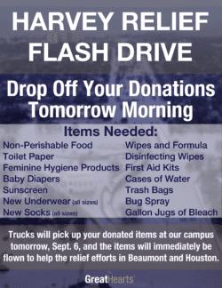 Harvey Relief Flash Drive Donation Drop Off