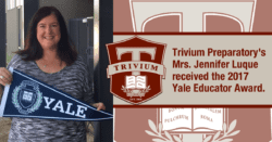 Trivium Prep Yale Educator Award for Mrs Jennifer Luque