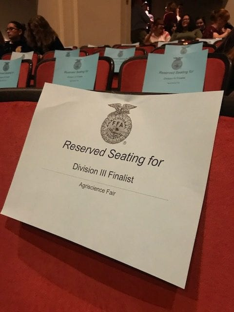A reserved seat for the FFA national science fair