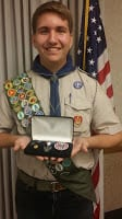 A scout earning an award