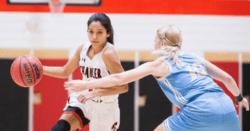 Justine Cooper playing basketball