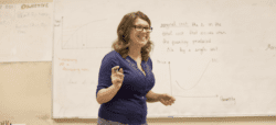 Teacher in front of a whiteboard