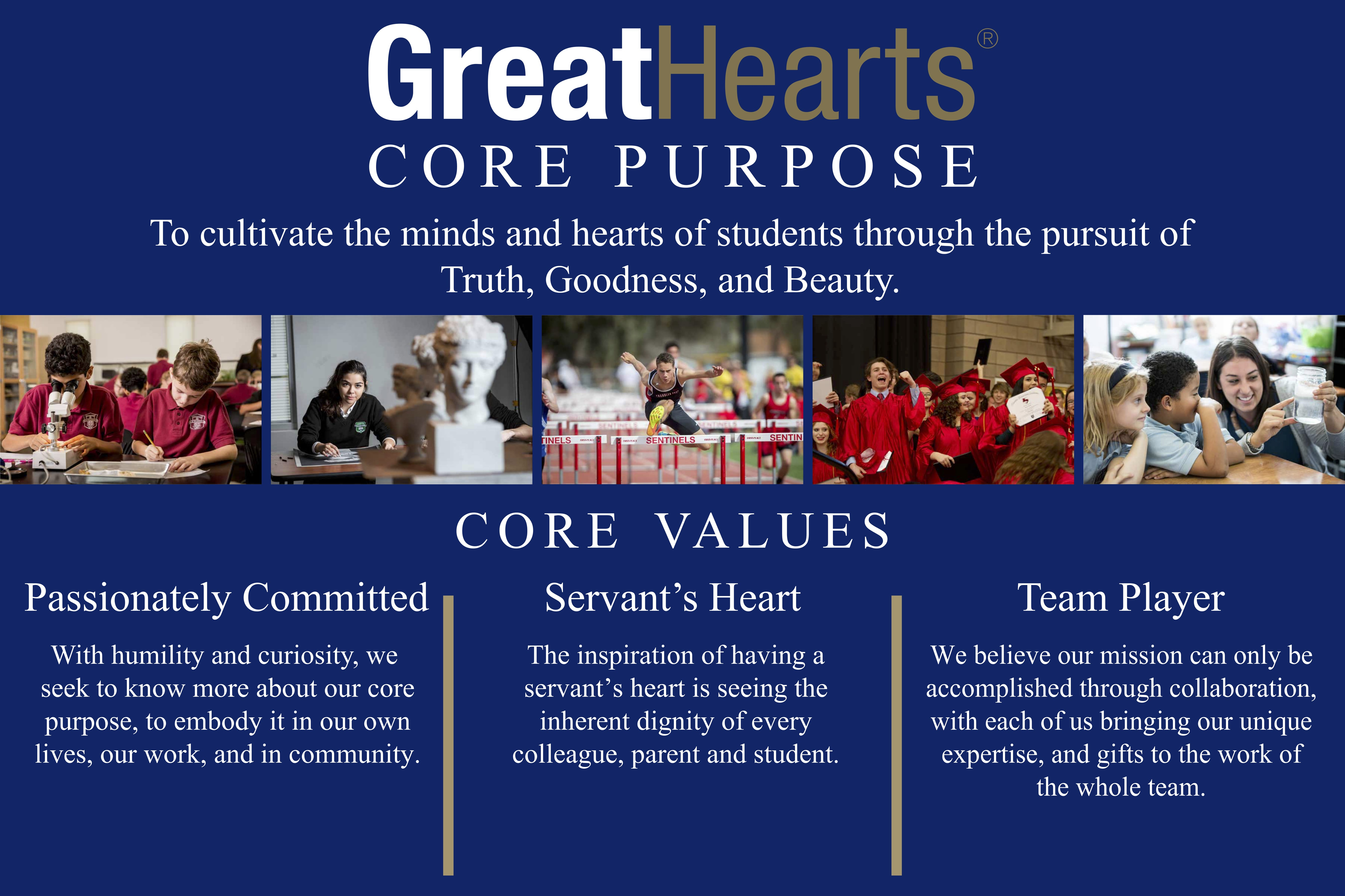 Great Hearts core purpose: to cultivate the minds and hearts of students through the pursuit of truth, goodness, and beauty