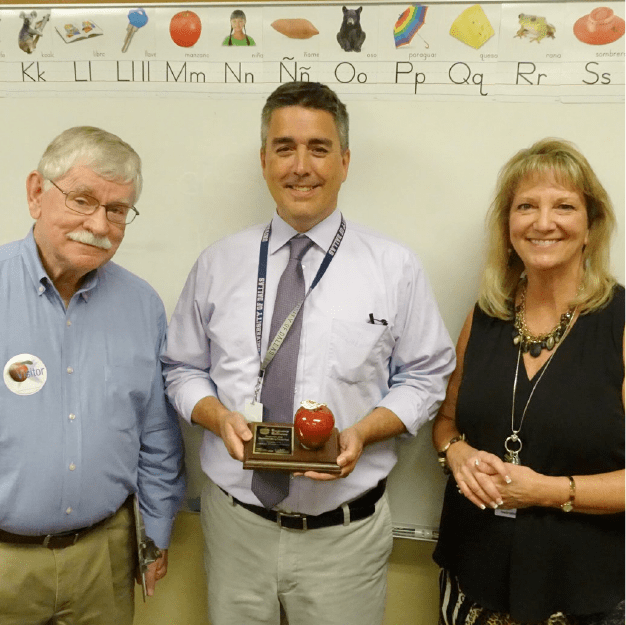 Mr. Jay is recognized as an outstanding teacher for the month of October