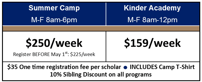 summer camp kinder only pricing