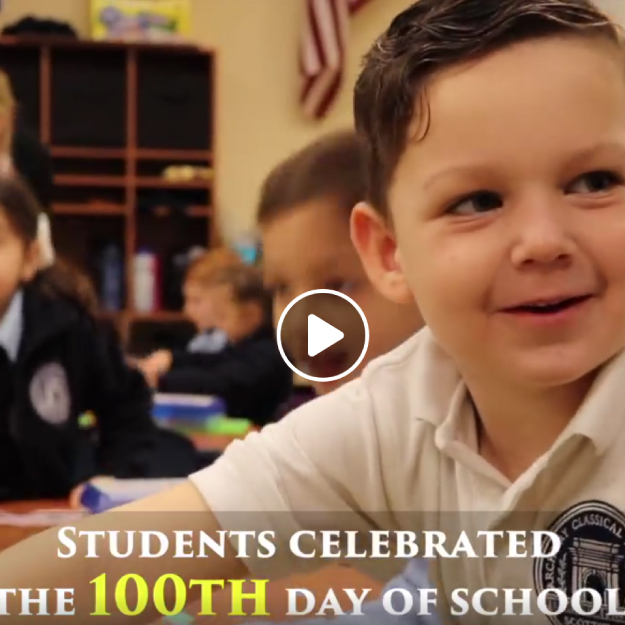 Kindergarteners celebrate the 100th day of school