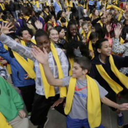 students at school choice event