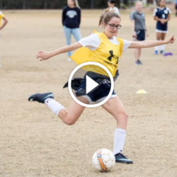 Audrey Beermann plays soccer