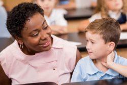 female teacher with a student