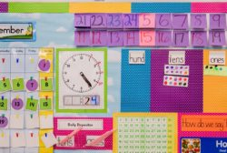 colorful teacher materials on wall